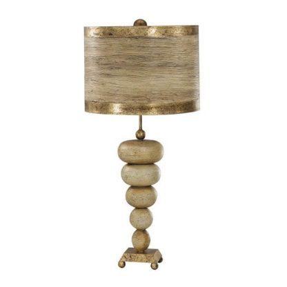 beżowo-złota lampa stołowa, podstawa kamienie