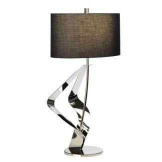 Designerska lampa stołowa Ribbon - srebrny połysk, czarny abażur