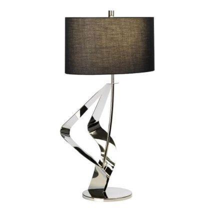 srebrna lampa stołowa w połysku, designerska, nowoczesna forma, czarny abażur