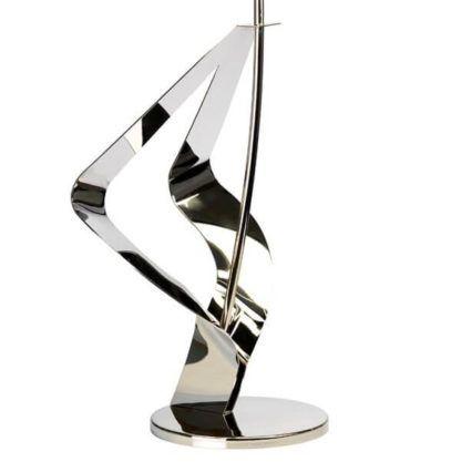 designerska podstawa do lampy, zakrzywiony metal w połysku