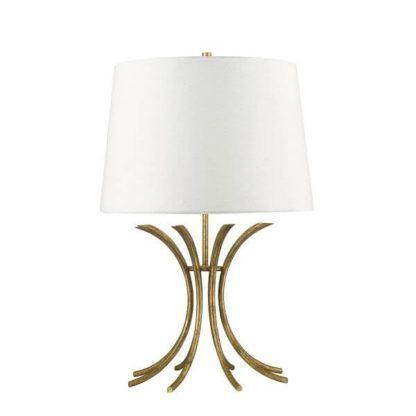 elegancka lampa stołowa z białym abażurem i złotą podstawą