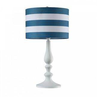 Biała lampa stołowa Sailor - biało-niebieski abażur