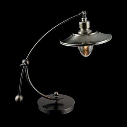 zaokrąglona, metalowa lampa stołowa, vintage
