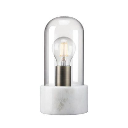 designerska lampa stołowa, marmurowa podstawa, szklany klosz