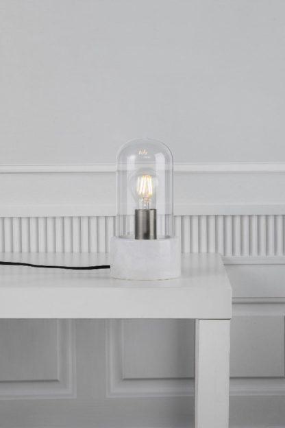 marmurowa lampa stołowa w stylu skandynawskim, szklany, bezbarwny klosz