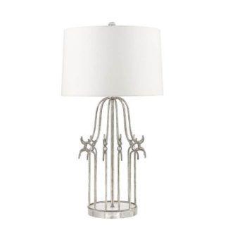 Ażurowa lampa stołowa Stela - biały abażur, szklane detale