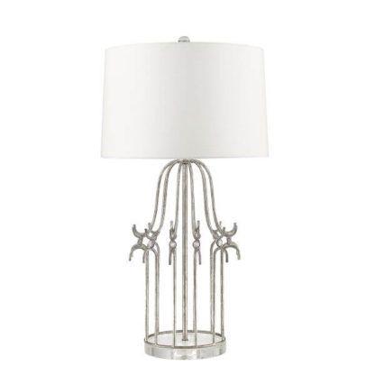 elegancka lampa stołowa w stylu prowansalskim, nowojorskim, biały abażur