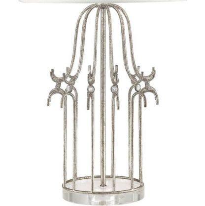 lampa stołowa, srebrna podstawa klatka na ptaki