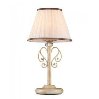 Klasyczna lampa stołowa Vintage - złota, plisowany abażur