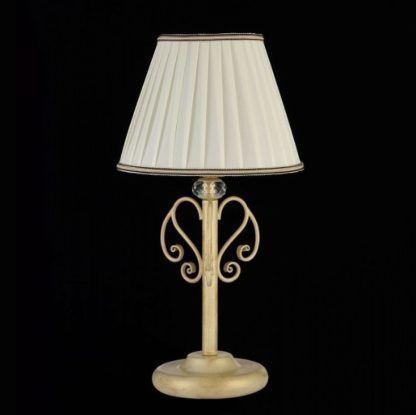 klasyczna lampa stołowa z jasnym abażurem, kremowe złoto