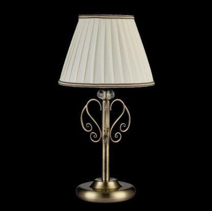 brązowa, metalowa lampa stołowa z plisowanym abażurem