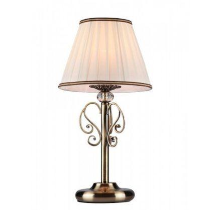 brązowa lampa stołowa z dekoracyjnym kryształkiem, styl klasyczny