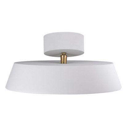biała lampa sufitowa, okrągły klosz ze złotym detalem
