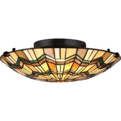 okrągła lampa sufitowa, witrażowa, ciepłe kolory pomarańczowy, żółty