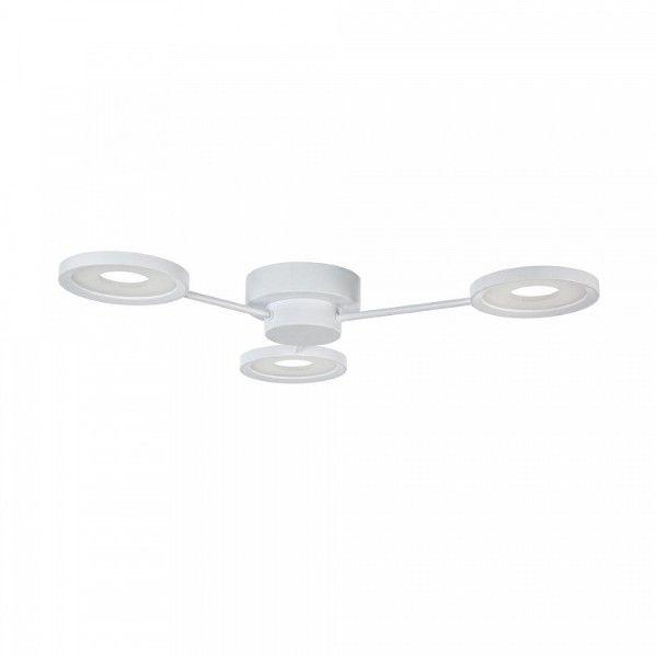 nowoczesna lampa sufitowa z trzema ramionami, okrągłe klosze LED