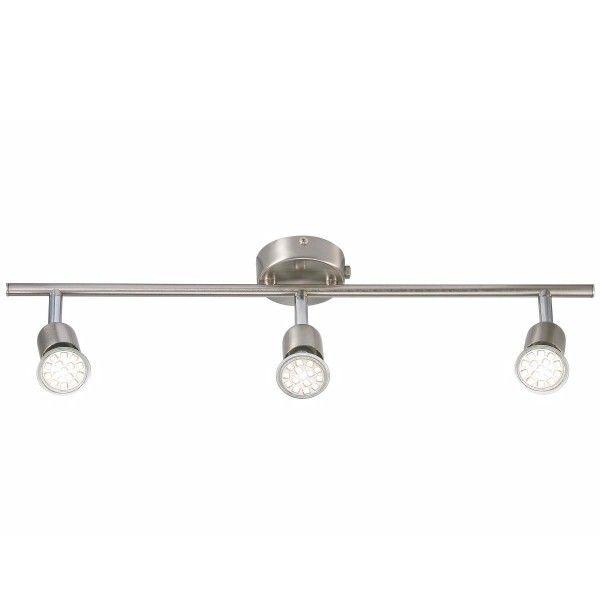 podwójna lampa sufitowa ze srebrnymi, małymi reflektorami, spoty