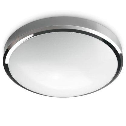 efektowny, nowoczesny plafon w srebrnej oprawie, biały dyfuzor