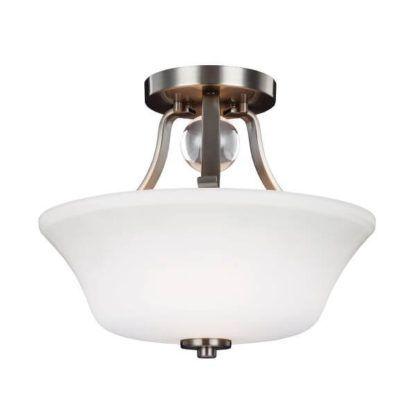 srebrna lampa sufitowa z białym, szklanym kloszem, styl klasyczny
