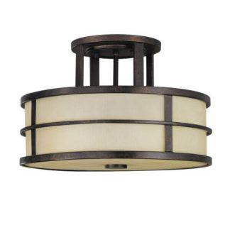 Klasyczna lampa sufitowa Fusion - beżowy klosz, brązowa oprawa