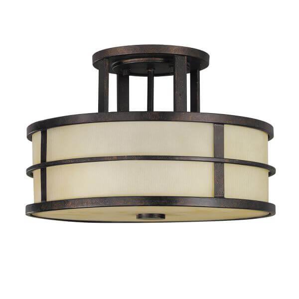 klasyczna lampa sufitowa, beżowy klosz i brązowa rama, masywna