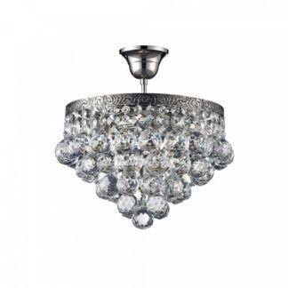 Luksusowa lampa sufitowa Gala - srebrna, kryształki