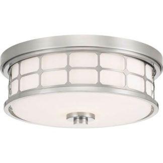 Okrągły plafon Guardian - srebrny, mleczne szkło
