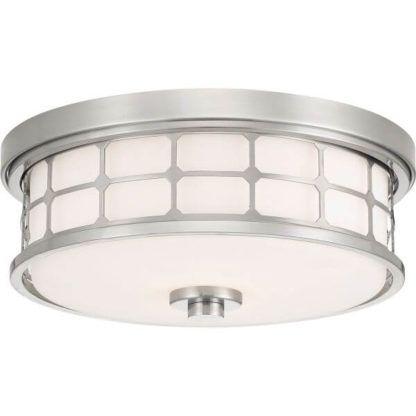 okrągły plafon z mlecznego szkła, srebrna obudowa