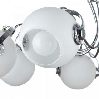 nowoczesny żyrandol z designerskimi, szklanymi kloszami, srebrny
