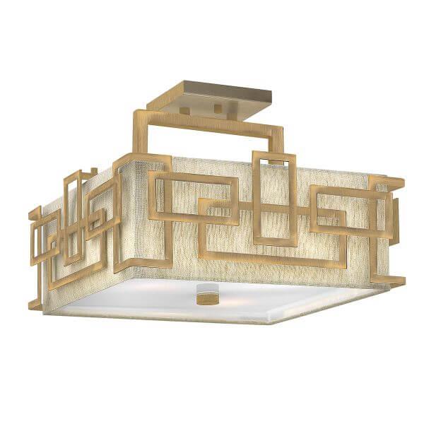 złoty plafon z beżowym abażurem i złotą, geometryczną obudową, wzór labirynt