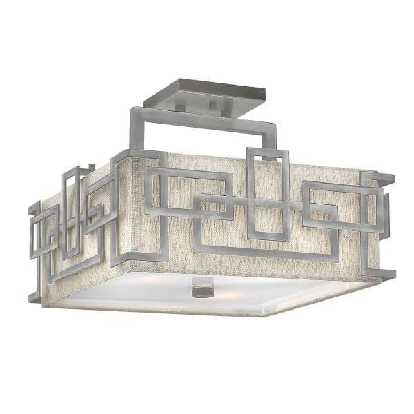 beżowa lampa sufitowa z mlecznym dyfuzorem, srebrna rama z nachodzących na siebie prostokątów