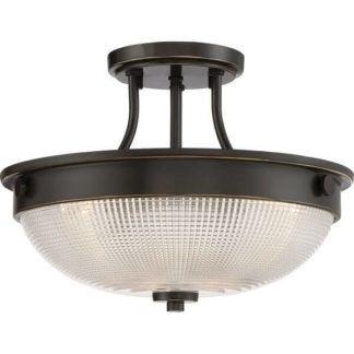 Okrągła lampa sufitowa Mantle - brązowa, szklana, klasyczna