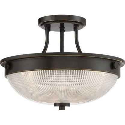 brązowa lampa sufitowa ze szklanym kloszem, klasyczna