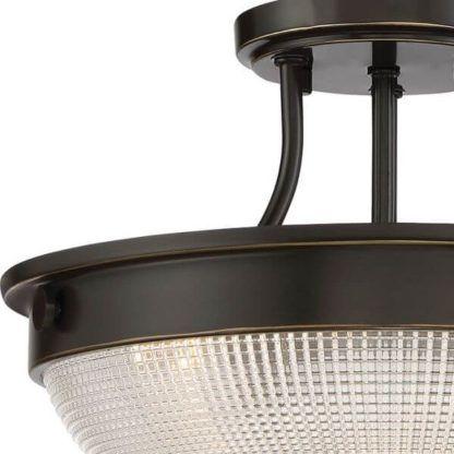 brązowa lampa sufitowa ze szklanym, półokrągłym kloszem