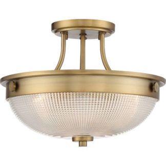 Klasyczna lampa sufitowa Mantle - okrągły, szklany klosz, złota podstawa