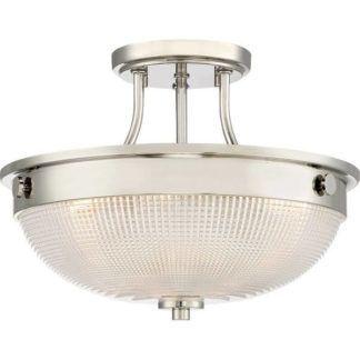 Szklana lampa sufitowa Mantle - okrągła, polerowany nikiel