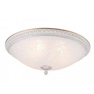 Klasyczna lampa sufitowa Pascal - szklany klosz z kwiatowym motywem