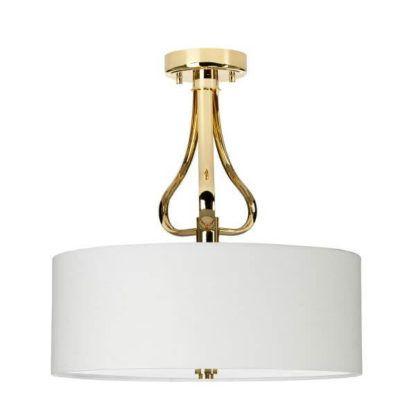 złota lampa sufitowa elegancka z białym abażurem, okrągła, do salonu