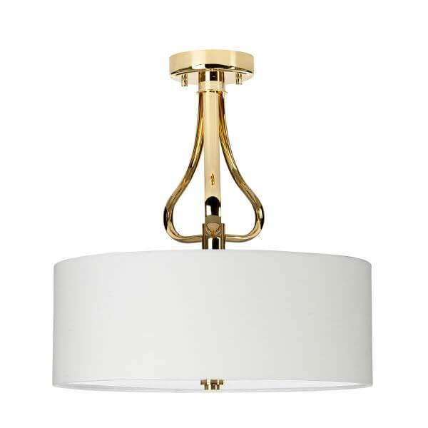 złota, elegancka lampa sufitowa z jasnym abażurem i mlecznym dufyzorem