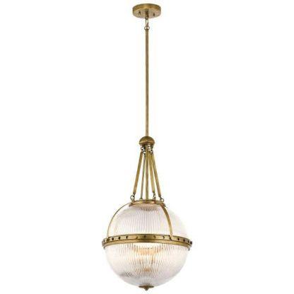 lampa wisząca ze szklanym kloszem kulą, złote detale