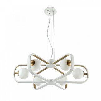 Designerski żyrandol Avola - szklane klosze, biało-złoty, nowoczesny