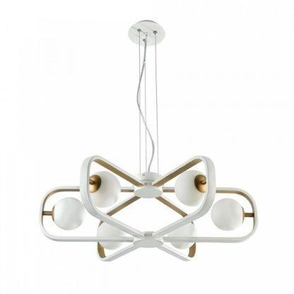 nowoczesny żyrandol biało-złoty