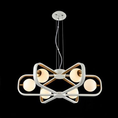 biało-złoty żyrandol nowoczesny, futurystyczny