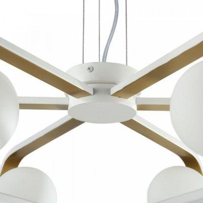 futurystyczny żyrandol do aranżacji nowoczesnych, biało-złoty