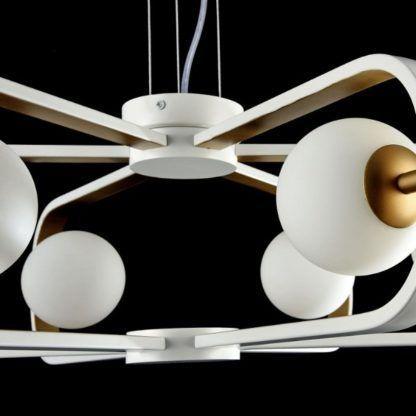 biały żyrandol w stylu futurystycznym, designerski