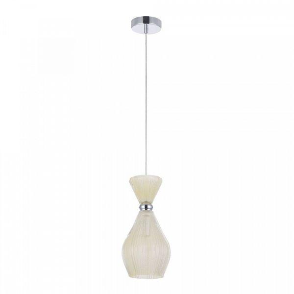 szklana lampa wisząca, beżowa, klasyczna