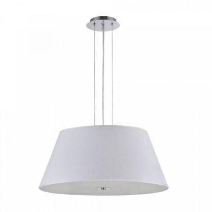 nowoczesna, elegancka, biała lampa wisząca z abażurem i mlecznym dyfuzorem, do salonu, nad stół