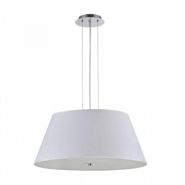 okrągła, biała lampa wisząca z abażurem, styl nowoczesny