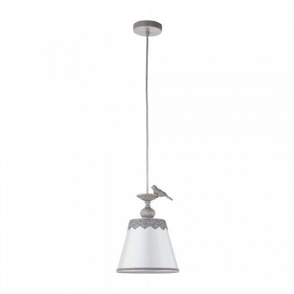 lampa wisząca z białym abażurem i szarym zawieszeniem, do wnętrz vintage, rustykalnych