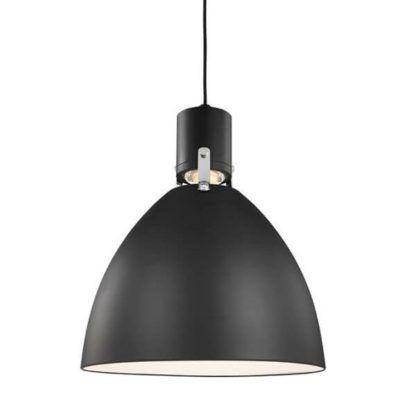 czarna lampa wisząca, nowoczesna, metalowy klosz scandi