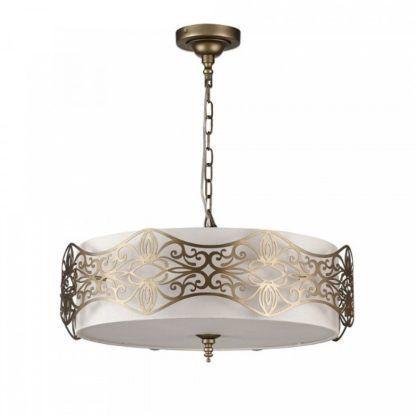 okrągła lampa wisząca z białym abażurem w złotej, dekoracyjnej oprawie